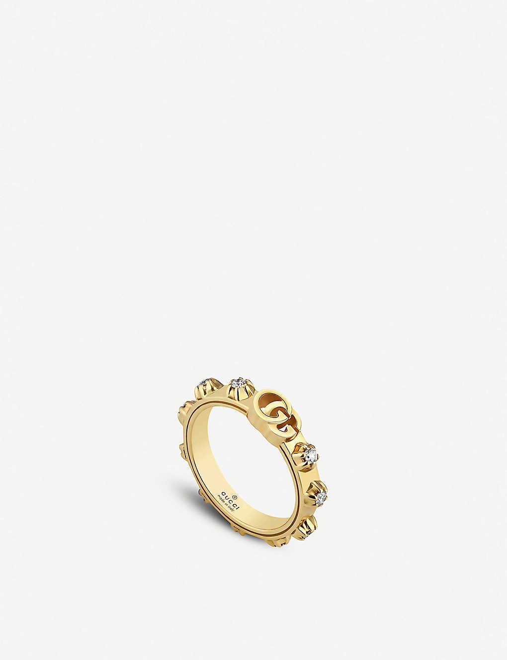 0960e3d9d GUCCI - GG Running 18ct yellow-gold and white diamond ring ...