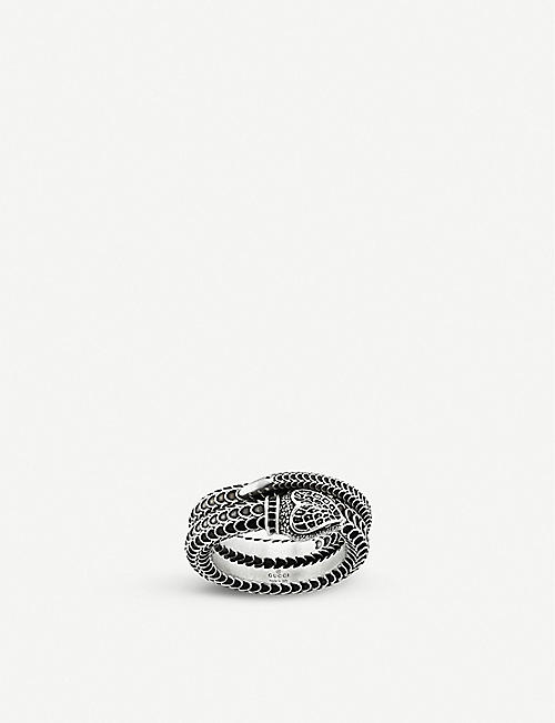 GUCCI Gucci Garden snake engraved sterling silver ring