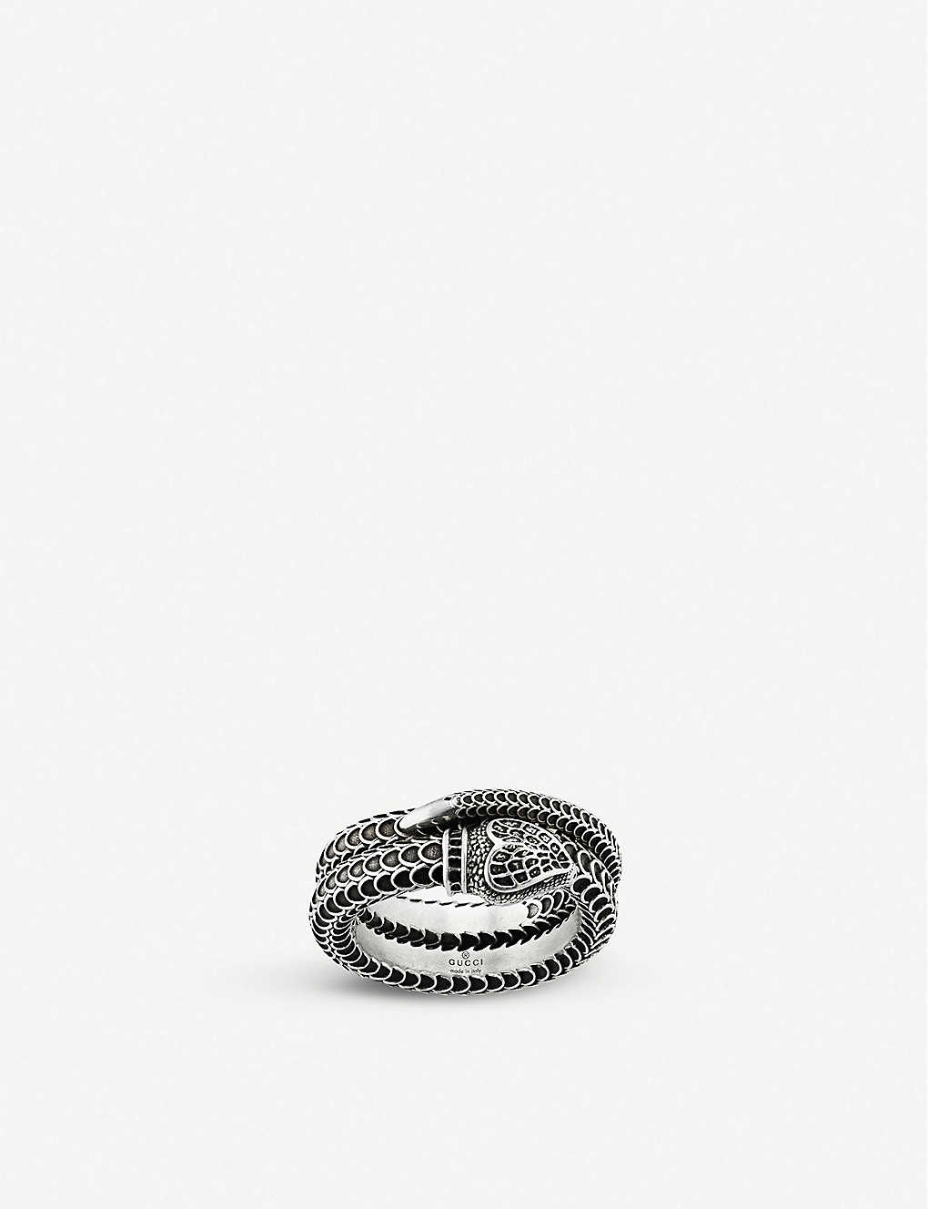 GUCCI: Gucci Garden snake engraved sterling silver ring