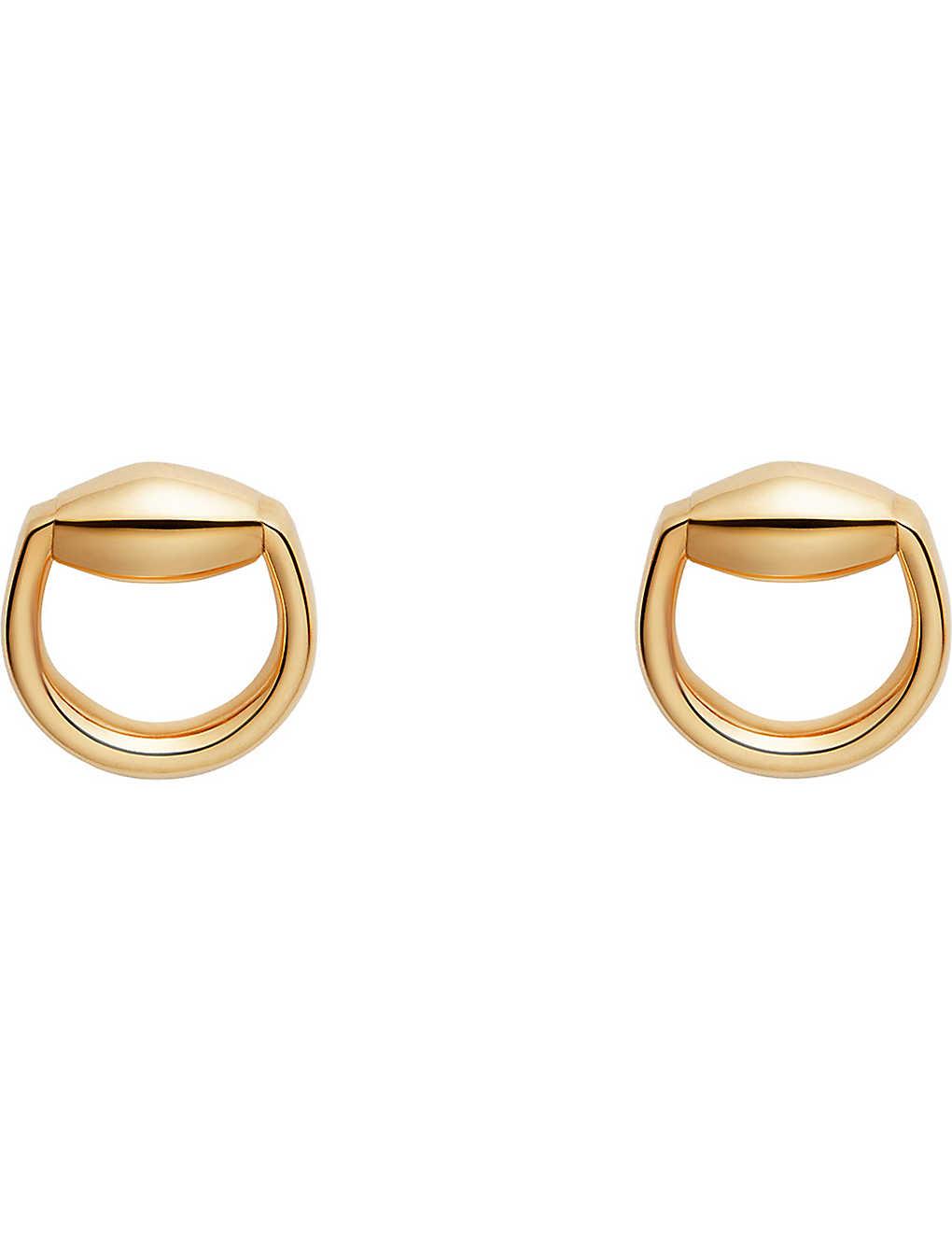 164244da9 GUCCI - Horsebit 18ct gold stud earrings | Selfridges.com