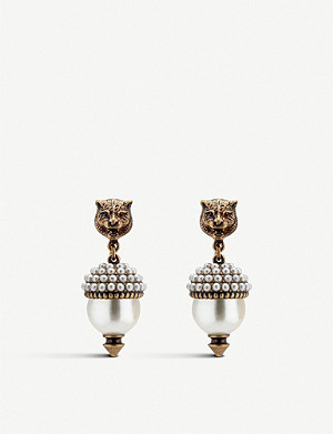 GUCCI Feline head pearlescent drop clip earrings