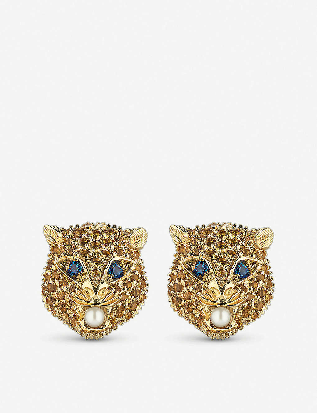 6bd6b2cbf GUCCI Le Marché des Merveilles 18ct yellow-gold, citrine quartz, blue topaz  and pearl earrings