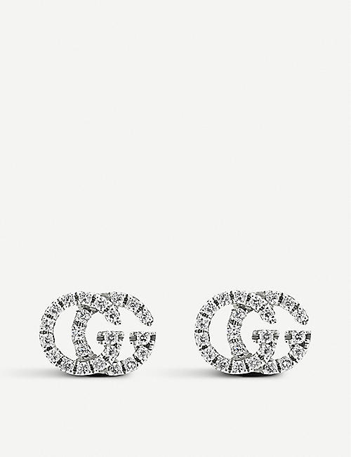 GUCCI GG Running 18ct white-gold and diamond stud earrings