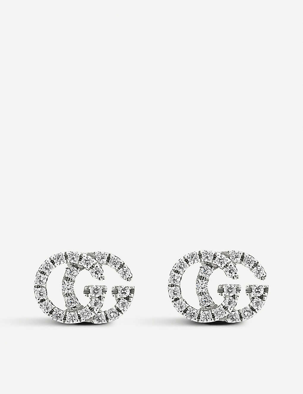 1188e091b5140d GUCCI - GG Running 18ct white-gold and diamond stud earrings ...