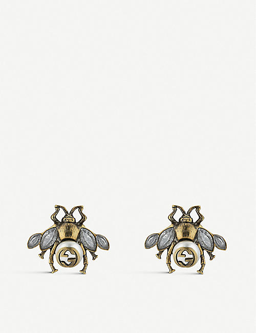 e28ec96417d GUCCI Bee crystal and pearl embellished earrings