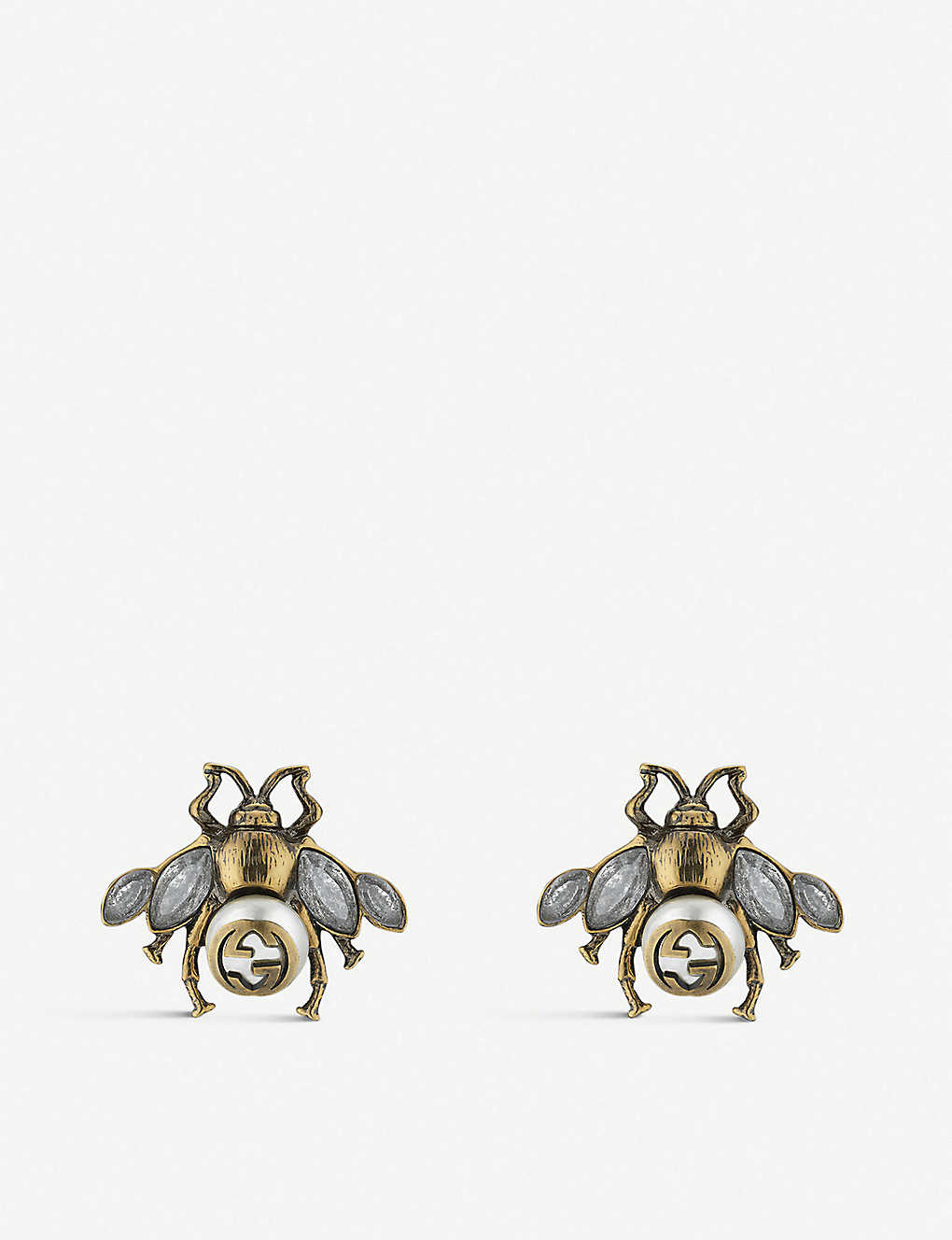ed870748ee9 GUCCI - Bee crystal and pearl embellished earrings