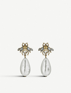 GUCCI Bee crystal embellished and drop pearl earrings