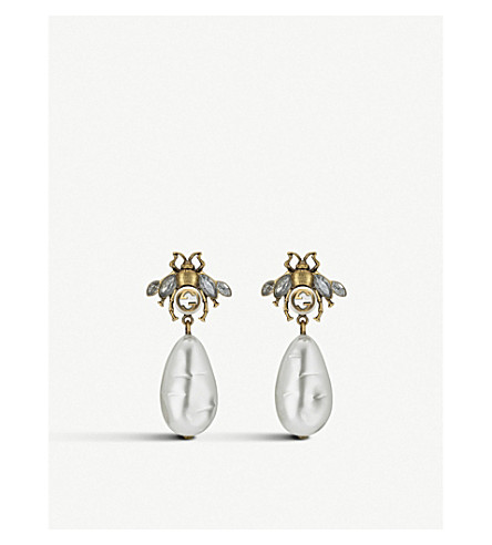 152a65b077c GUCCI - Bee crystal embellished and drop pearl earrings