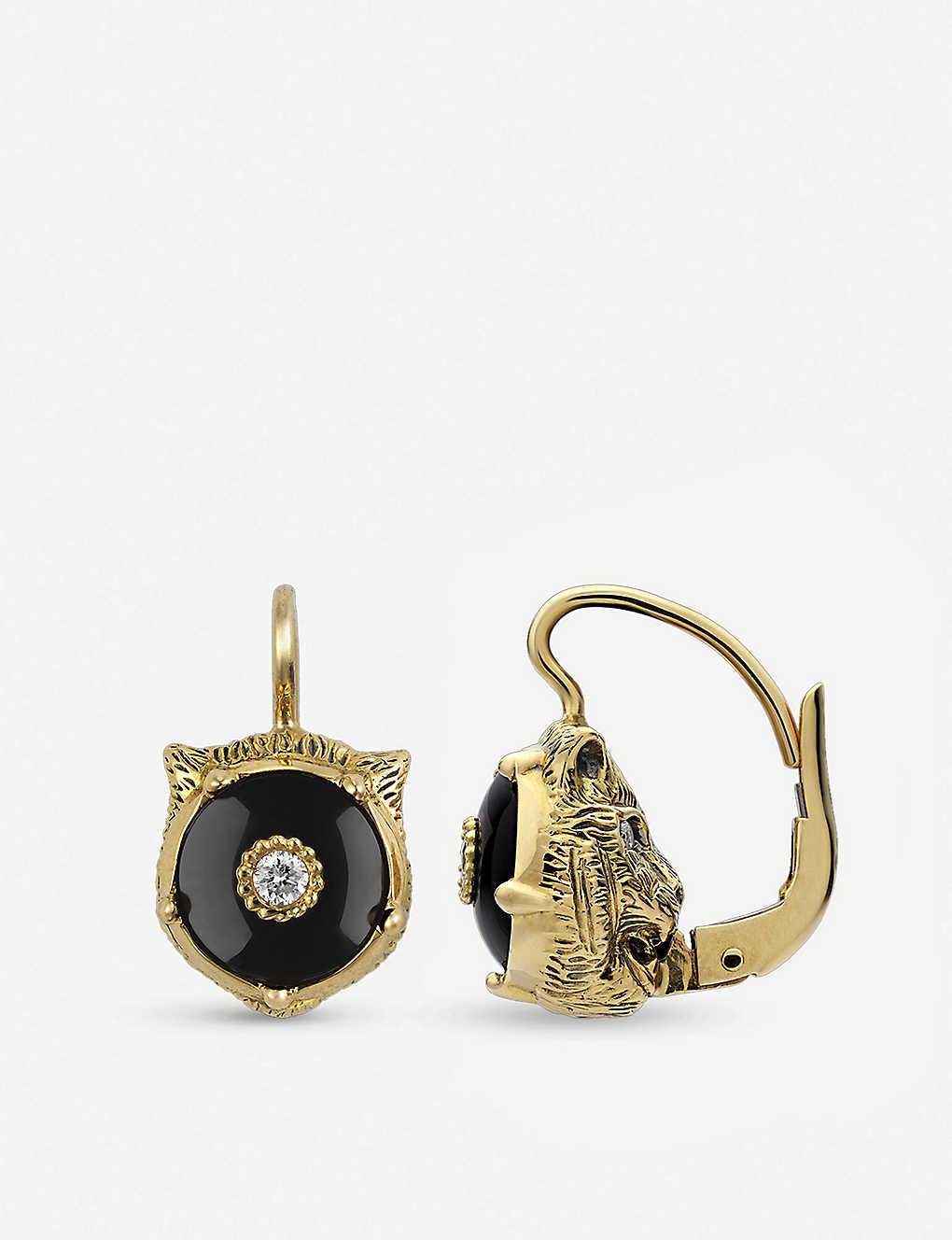16f87d193e0227 Le Marché des Merveilles 18ct yellow-gold, black onyx and diamond earrings  - Yellow ...