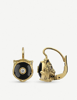 GUCCI Le March? des Merveilles 18ct yellow-gold, black onyx and diamond earrings