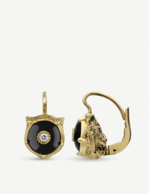 GUCCI Le Marché des Merveilles 18ct yellow-gold, black onyx and diamond earrings