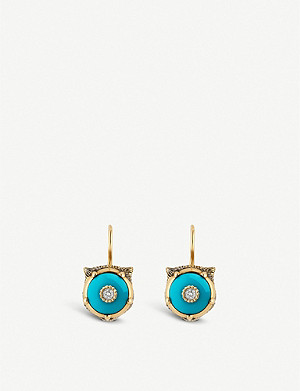 GUCCI Le March? des Merveilles 18ct yellow-gold, turquoise and diamond earrings