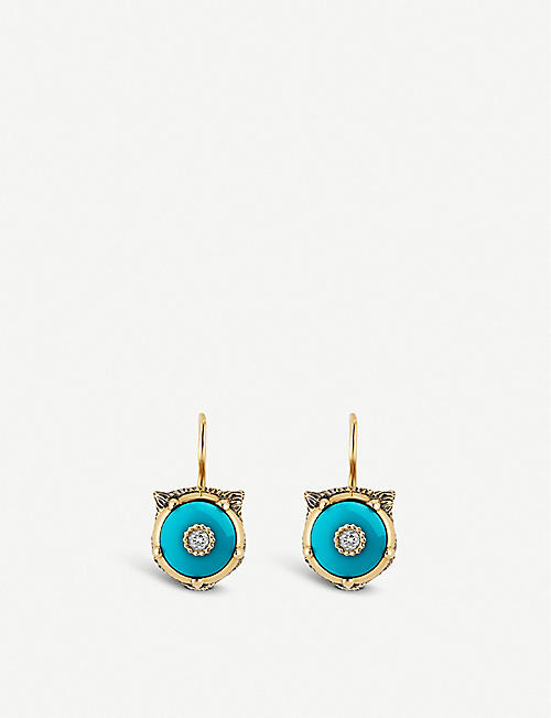 960dbaff9 GUCCI Le Marché des Merveilles 18ct yellow-gold, turquoise and diamond  earrings
