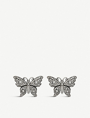 0c819da7c80 GUCCI · Butterfly crystal embellished earrings · GUCCI GG Marmont sterling  silver earrings