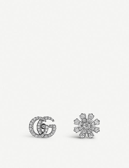 GUCCI: Flora 18ct white-gold and diamond earrings