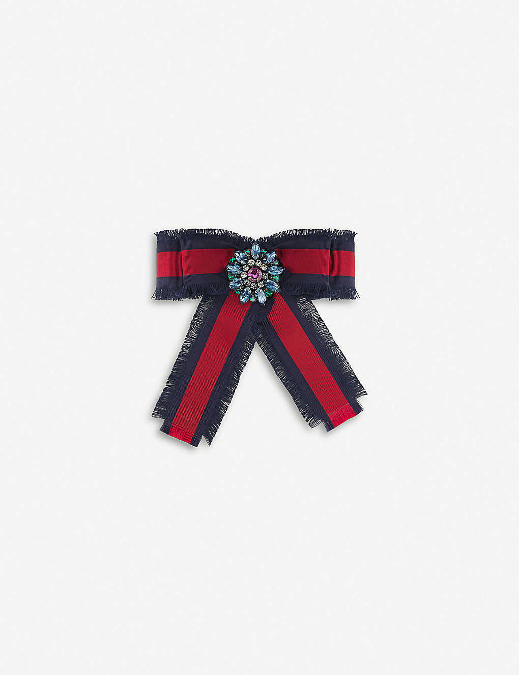 347865fb Bow grosgrain and crystals brooch