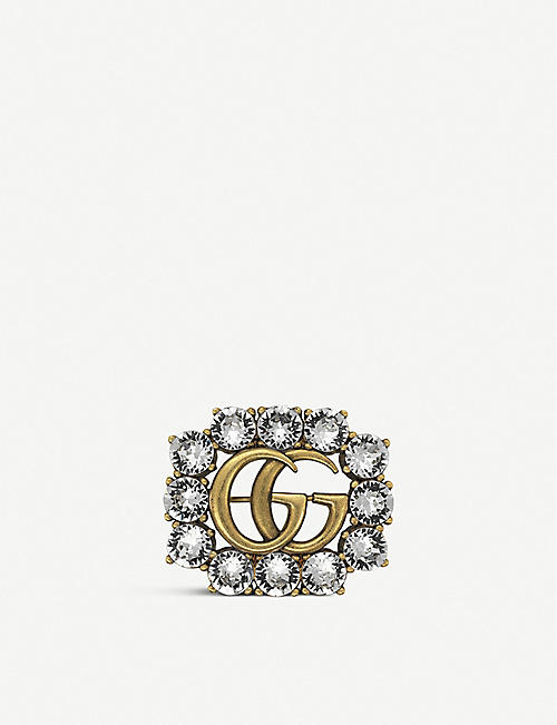 GUCCI Double G gold and crystals brooch