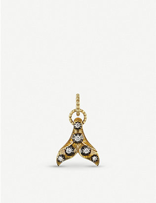 GUCCI: 18ct yellow-gold, yellow enamel and diamond fin charm