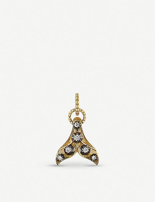GUCCI 18ct yellow-gold, yellow enamel and diamond fin charm