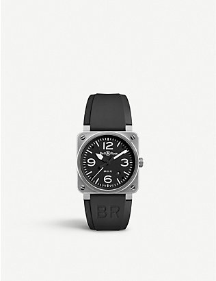 BELL & ROSS: BR0392BLST stainless steel and rubber strap