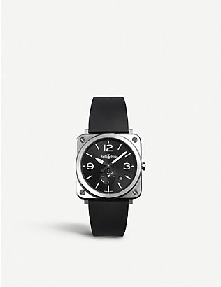 BELL & ROSS: BRSBLCST Aviation steel and rubber watch