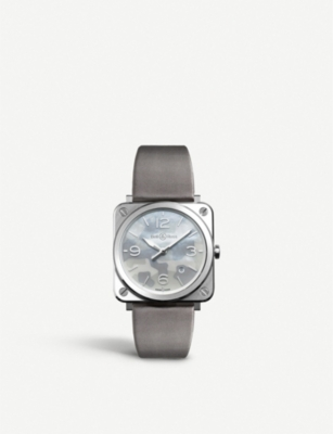 BELL & ROSS BRSCAMOST Aviation steel and satin-leather watch