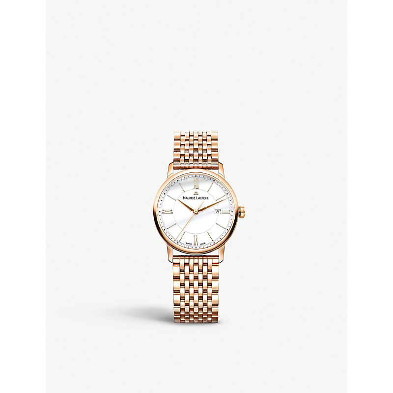 MAURICE LACROIX Eliros El1094-Pvp06-111-1 Rose Gold-Plated Watch in White