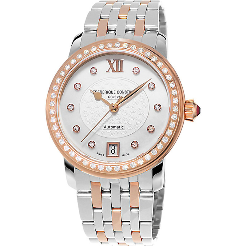 Frederique Constant FC303WHF2PD4B3 ROSE GOLD-PLATED STAINLESS STEEL AND DIAMOND WATCH