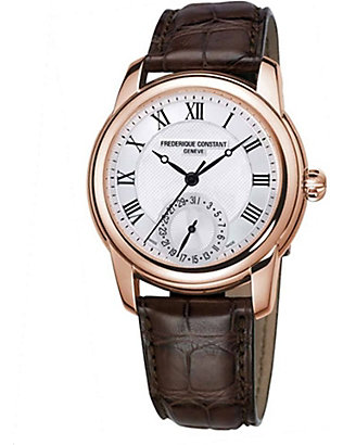 FREDERIQUE CONSTANT: FC710MC4H4 Classic gold-plated and leather unisex watch