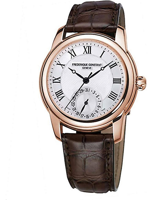 FREDERIQUE CONSTANT FC710MC4H4 Classic gold-plated and leather unisex watch