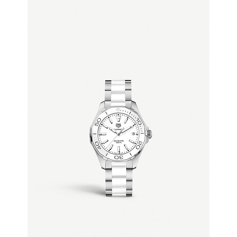 TAG HEUER | Tag Heuer WAY131H.BA0914 Aquaracer Stainless Steel And Ceramic Watch, Women'S, White | Goxip