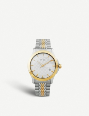 GUCCI YA126409 G-Timeless Collection stainless steel and yellow-gold PVD watch