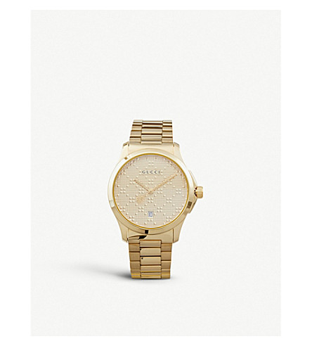 ba28c446ff0550 GUCCI - YA126461 G Timeless gold-plated stainless steel watch ...