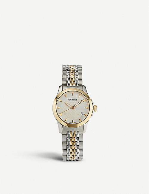 GUCCI YA126511 G-Timeless stainless steel and yellow-gold PVD watch