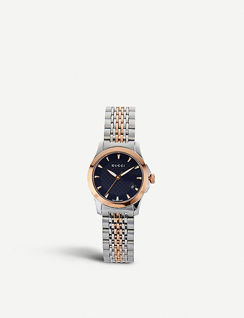 b4aa04141 GUCCI YA126512 G-Timeless bi-colour stainless steel and pink-gold PVD watch