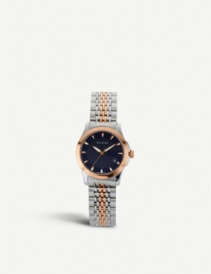 GUCCI YA126512 G-Timeless bi-colour stainless steel and pink-gold PVD watch
