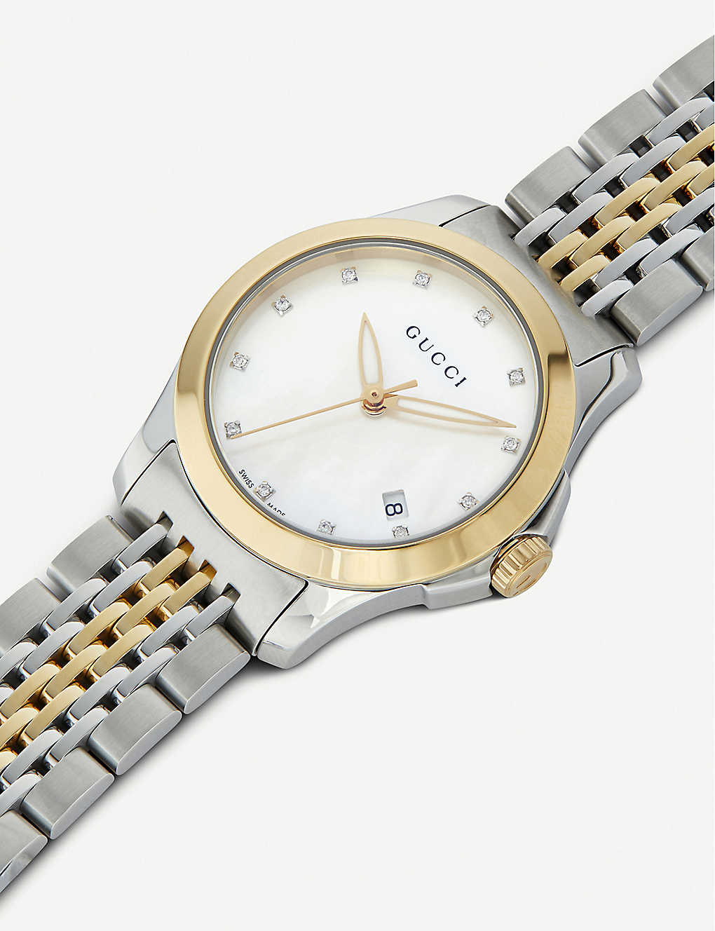 994dbb09f42 ... YA126513 G-Timeless stainless steel and yellow-gold PVD watch -  Motherofpearl ...