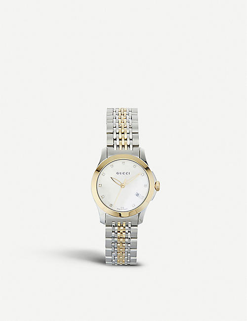 GUCCI YA126513 G-Timeless stainless steel and yellow-gold PVD watch