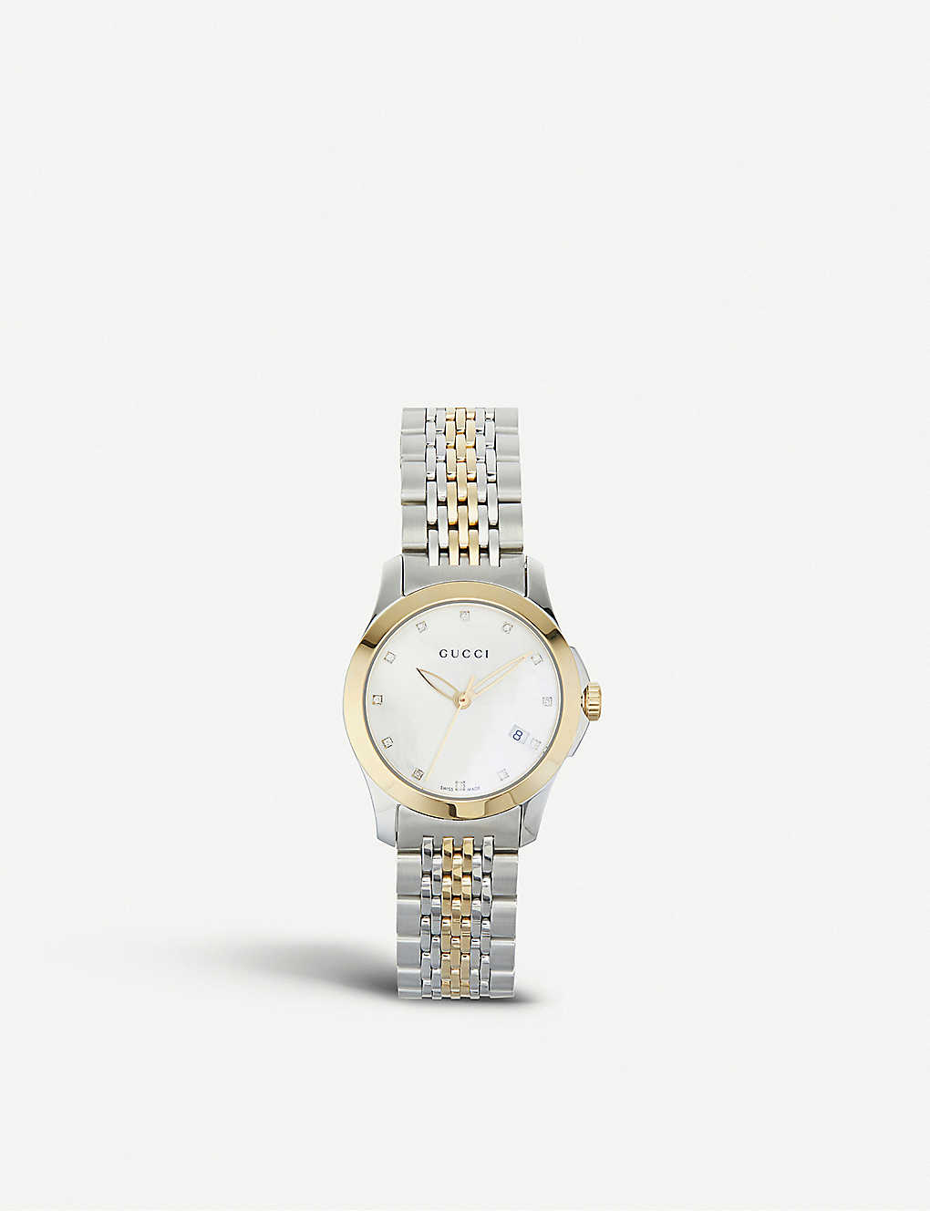 91b77432afa YA126513 G-Timeless stainless steel and yellow-gold PVD watch -  Motherofpearl ...