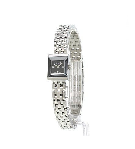 1a6e474a184 ... YA128507 G-frame Collection stainless steel and diamond watch - Black  ...