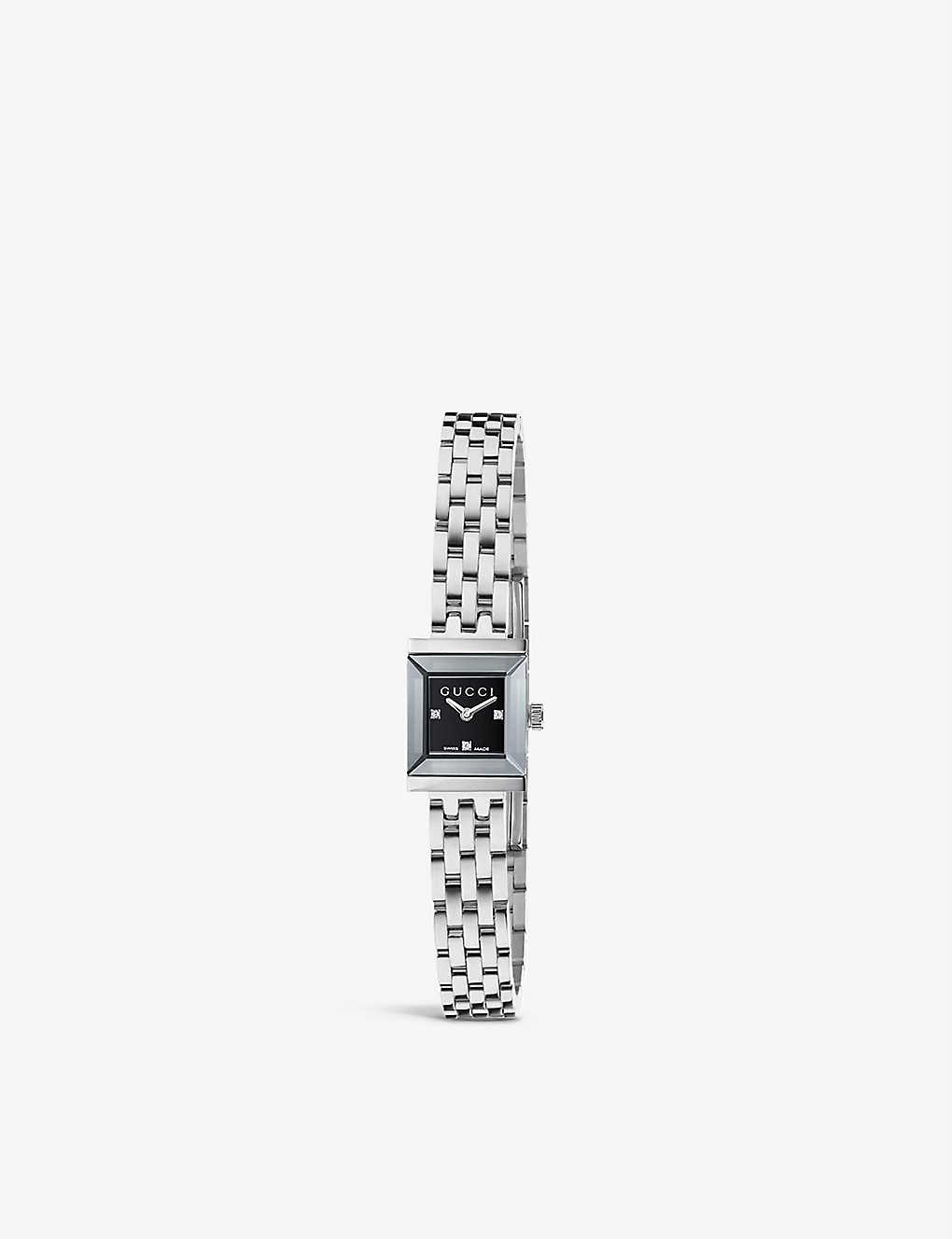 54c77f9efd5 YA128507 G-frame Collection stainless steel and diamond watch - Black ...