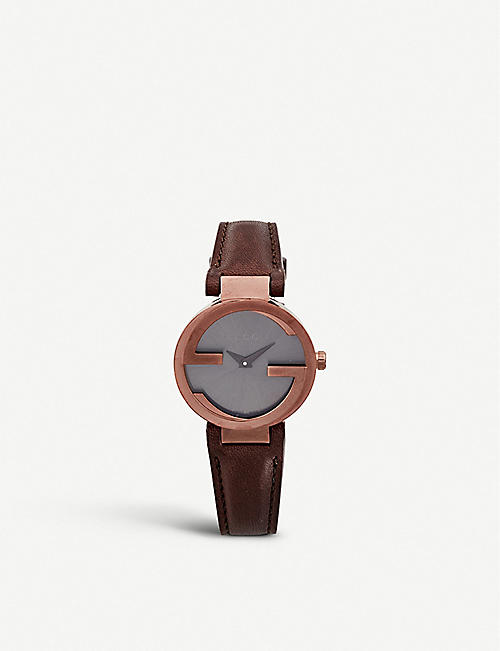 GUCCI: YA133504 Interlocking-G Collection brown PVD watch