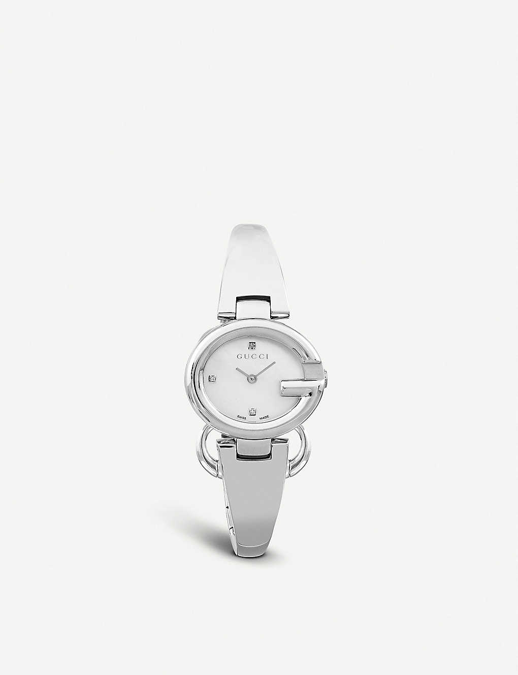 e8d415c18eb GUCCI - YA134504 Guccissima stainless steel and diamond watch ...