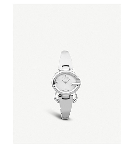 ee0d02a3b13 GUCCI - YA134504 Guccissima stainless steel and diamond watch ...