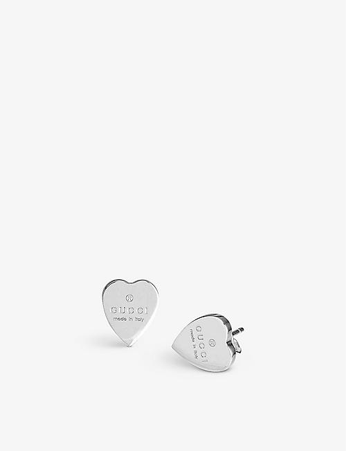 GUCCI Trademark earrings heart-motif sterling silver stud earrings