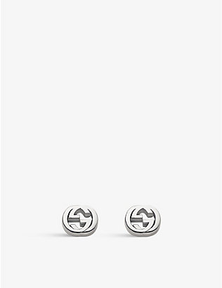 GUCCI: Interlocking G sterling silver stud earrings