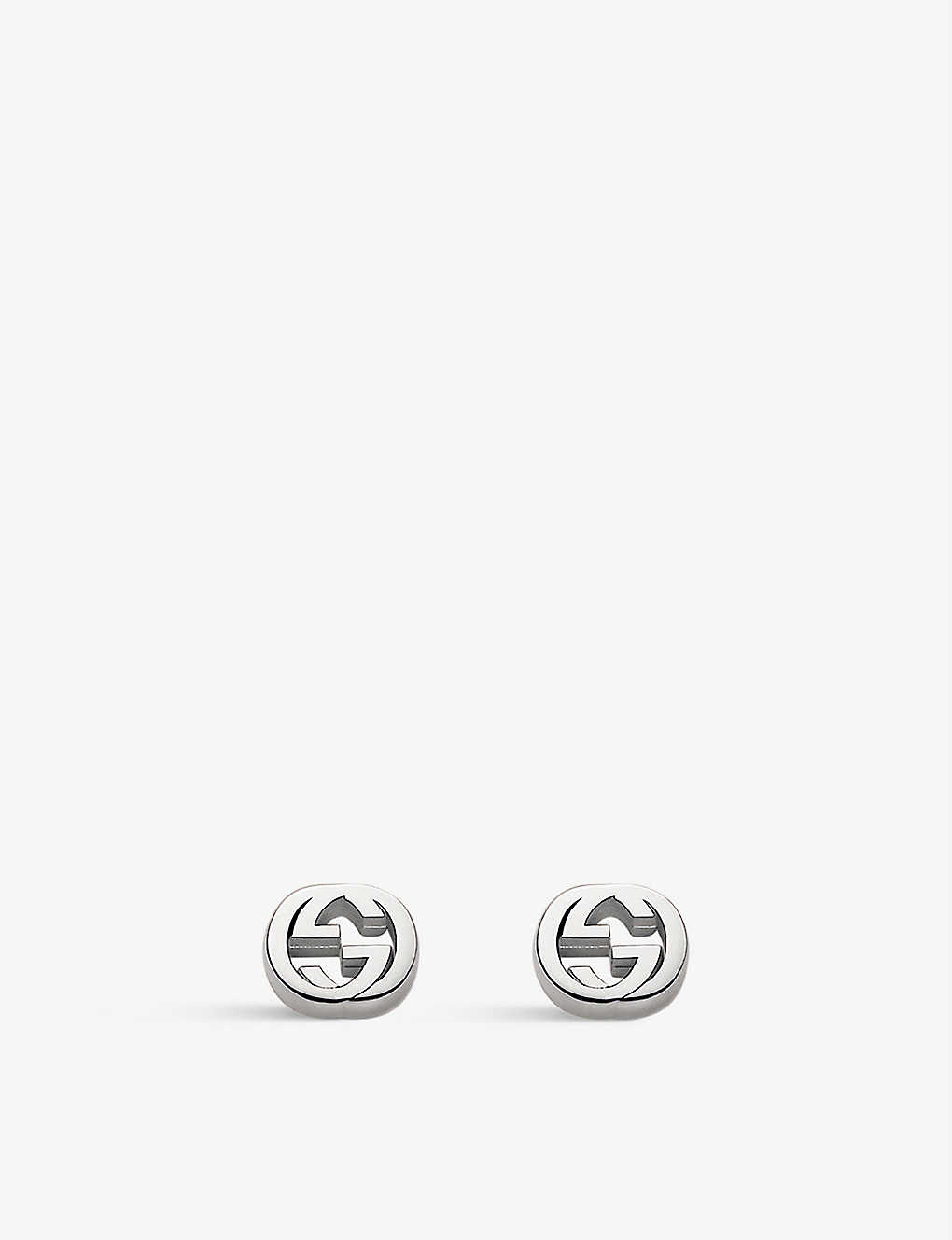 0d25ab0d1bb ... Interlocking G sterling silver stud earrings zoom ...