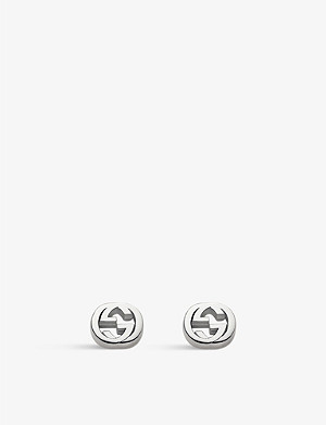 GUCCI Interlocking G sterling silver stud earrings