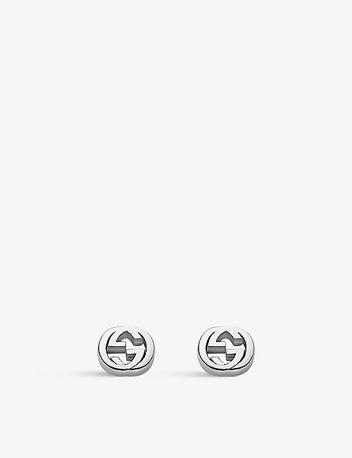 7eb6a94587b GUCCI Interlocking G sterling silver stud earrings