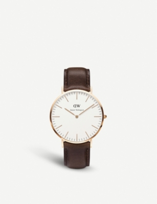 DANIEL WELLINGTON Classic Bristol rose gold-plated and leather watch 40mm